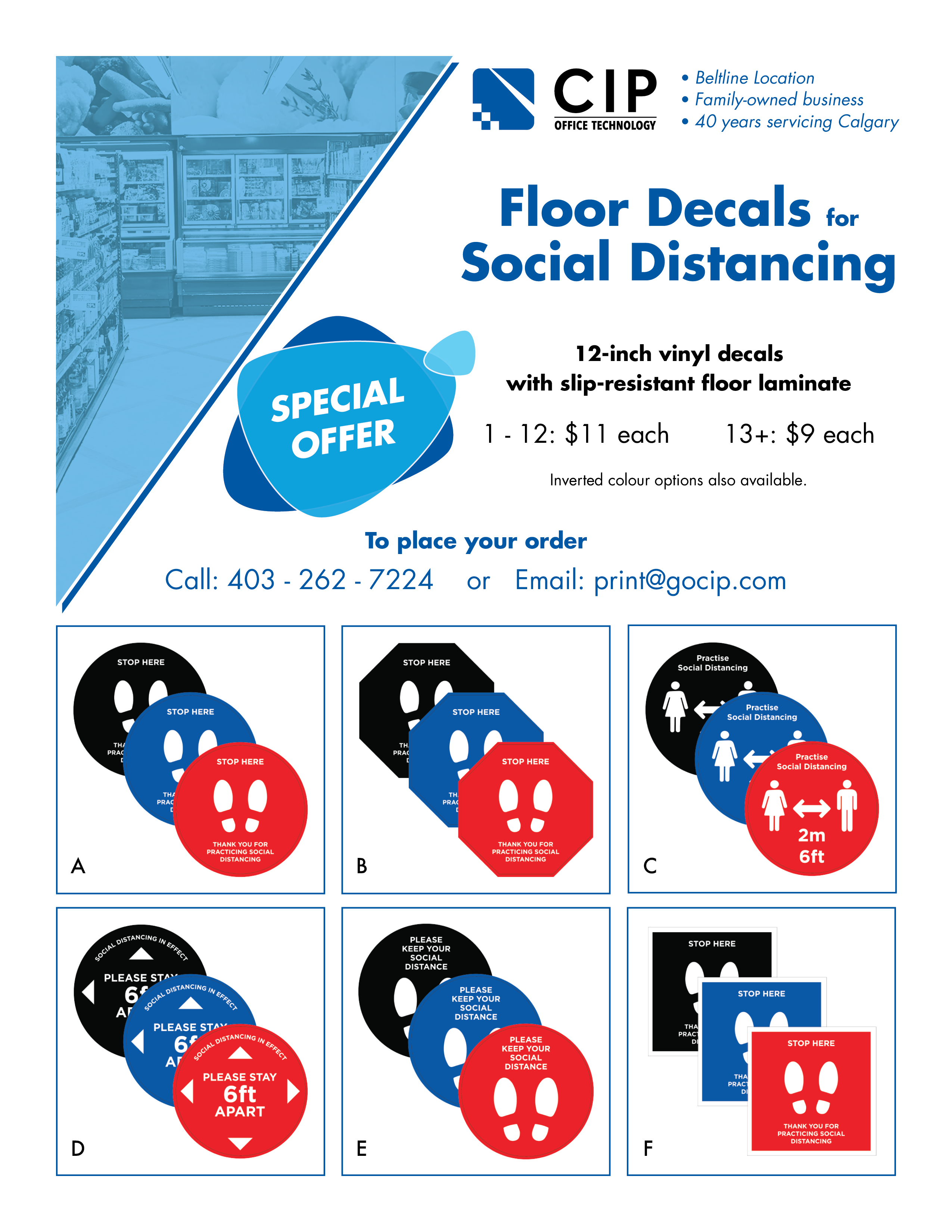 social distancing floor decal brochure