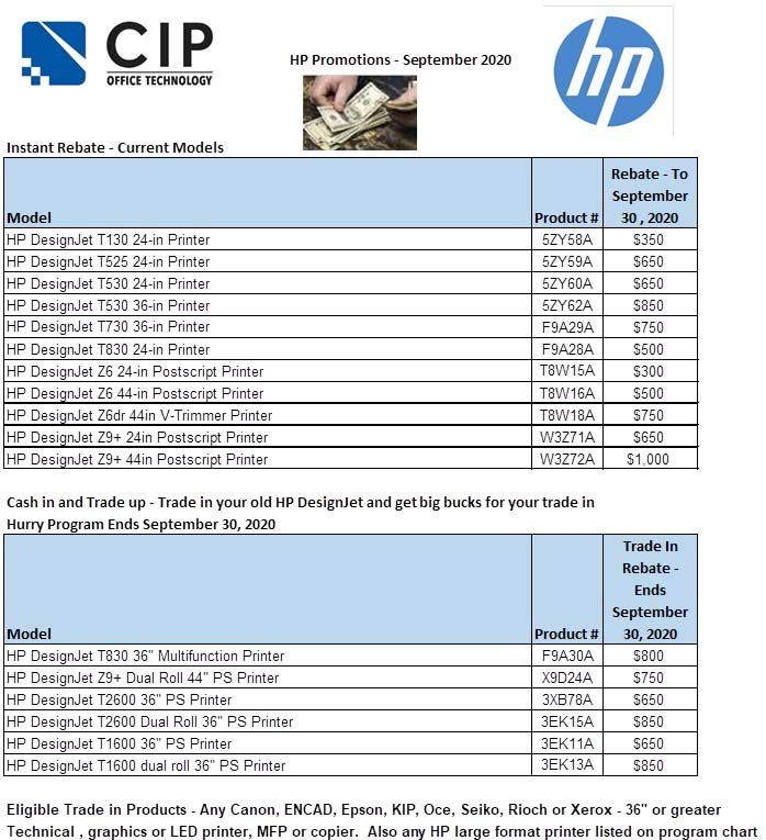 hp promotional discounts - september 2020